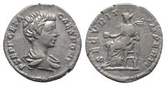 Ancient Coins - GETA, as Caesar. 198-209 AD. AR Denarius. Struck 202-205 AD. R/ SECURITAS