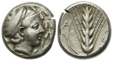 Ancient Coins - ITALY. Southern Lucania, Metapontion, c. 400-340 BC. AR Stater. R/ Barley ear