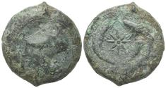 Ancient Coins - Sicily, Syracuse. Dionysios I (405-367 BC). Æ Drachm, c. 380 BC. R/ Sea-star between two dolphins