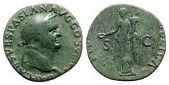 Ancient Coins - Vespasian (69-79). Æ As - Lugdunum - R/ Fides