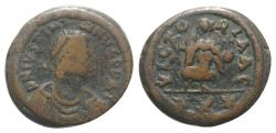 Ancient Coins - Justinian I (527-565). Æ 10 Nummi. Carthage, 548/9.