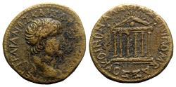 Ancient Coins - Trajan (98-117). Koinon of Galatia. Æ - T. Pomponius Bassus - R/ Temple