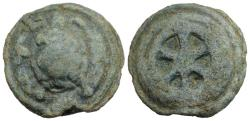 Ancient Coins - ROME REPUBLIC Anonymous, Rome, c. 230 BC. Cast Æ Sextans. Tortoise. R/ Wheel of six spokes