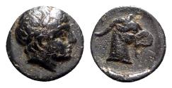 Ancient Coins - Aeolis, Aigai, 4th-3rd centuries BC. Æ - Apollo / Goat head
