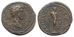 Ancient Coins - Marcus Aurelius (161-180). Thrace, Odessus. Æ 23mm. R/ Herakles standing r., resting arm on club, holding lion-skin. VERY RARE