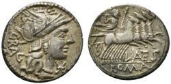 Ancient Coins - ROME REPUBLIC L. Antestius Gragulus, Rome, 136 BC. AR Denarius. R/ Jupiter driving quadriga