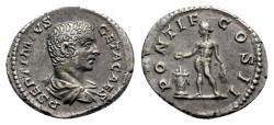 Ancient Coins - Geta (Caesar, 198-209). AR Denarius - R/ Genius