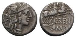 Ancient Coins - ROME REPUBLIC C. Renius, Rome, 138 BC. AR Denarius. R/ Juno Caprotina driving biga of goats