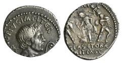 Ancient Coins - Sextus Pompey (42-40 BC), Uncertain Sicilian mint, AR Denarius NICE PORTRAIT !