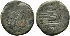 Ancient Coins - ROME REPUBLIC L. Licinius Murena, Rome, 169-158 BC. Æ As JANUS / PROW