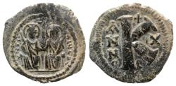 Ancient Coins - Justin II and Sophia (565-578). Æ 20 Nummi (26mm, 7.08g, 6h). Antioch.