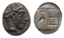 Ancient Coins - Ionia, Kolophon, c. 450-410 BC. AR Tetartemorion - Apollo / TE monogram