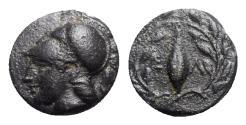 Ancient Coins - Aeolis, Elaia, mid 4th-3rd century BC. Æ - Athena / Seed