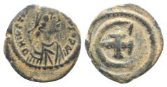 Ancient Coins - Justinian I (527-565). Æ 5 Nummi. Theoupolis (Antioch), AD 542.