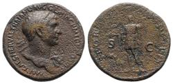 Ancient Coins - Trajan (98-117). Æ Sestertius - Rome - R/ Roma standing
