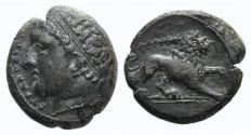 Ancient Coins - Sicily, Syracuse. Agathokles (317-289 BC). Æ Litra, c. 308/7. R/ LION