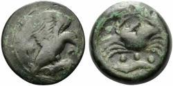 Ancient Coins - Sicily, Akragas, c. 425-406 BC. Æ Tetras. Eagle  R/ Crab