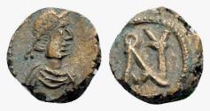 Ancient Coins - Anastasius I (491-518). Æ Nummus. Constantinople, 491-498. R/ Monogram of Anastasius. EXTREMELY FINE