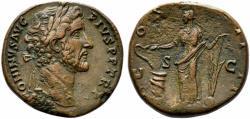 Ancient Coins - Antoninus Pius (138-161). Æ Sestertius. Rome, 145-161.  R/ SALUS