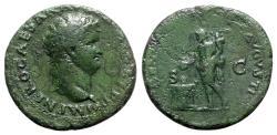 Ancient Coins - Nero (54-68). Æ As - Lugdunum - R/ Genius