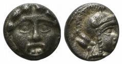 Ancient Coins - Pisidia, Selge, c. 350-300 BC. AR Obol Facing gorgoneion. R/ Head of Athena