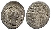 Ancient Coins - Valerian II (Caesar, 256-258). AR Antoninianus - Samosata - R/ Emperor with trophy