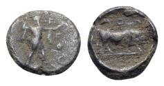 Ancient Coins - Northern Lucania, Poseidonia, c. 445-420 BC. AR Diobol