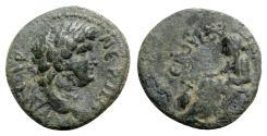 Ancient Coins - Nero (54-68). Cilicia, Anazarbus. Æ Hemiassarion - R/ Boule seated