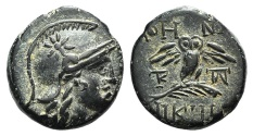 Ancient Coins - Mysia, Pergamon, c. 133-27 BC. Æ 15mm. R/ Owl