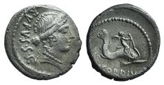 Ancient Coins - Moneyer issues of Imperatorial Rome. Mn. Cordius Rufus. 46 BC. AR Denarius R/ Cupid riding dolphin