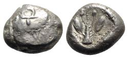 Ancient Coins - Cyprus, Uncertain, early 5th century BC. AR Siglos – Stater - Ram / Branch