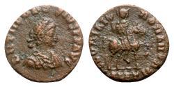 Ancient Coins - Theodosius I (379-395). Æ - Alexandria - R/ Emperor on horseback