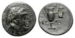 Ancient Coins - Aeolis, Myrina, 4th century BC. Æ - Athena / Amphora