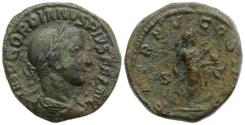 Ancient Coins - Gordian III (238-244). Æ Sestertius. Rome, AD 242. R/ Gordian advancing right