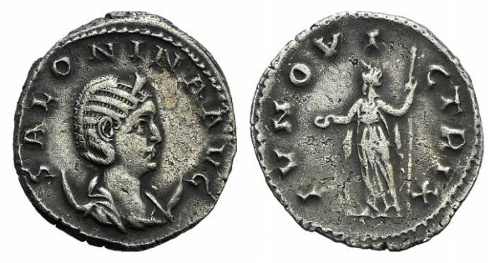 Ancient Coins - Salonina. Augusta, AD 254-268. AR Antoninianus / Juno