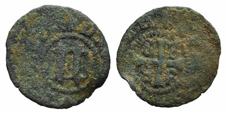 World Coins - CRUSADERS, Mytilene, Nicolo Gattilusio (1459-1462). AE Denaro (0.84gm). Gothic N between two rosettes, R/ Palaeologan arms RARE