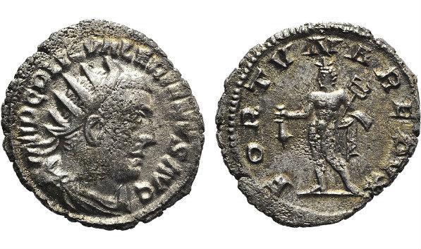 Ancient Coins - Valerian I (253-260). AR Antoninianus. Antioch, 254/5. R/ Mercury