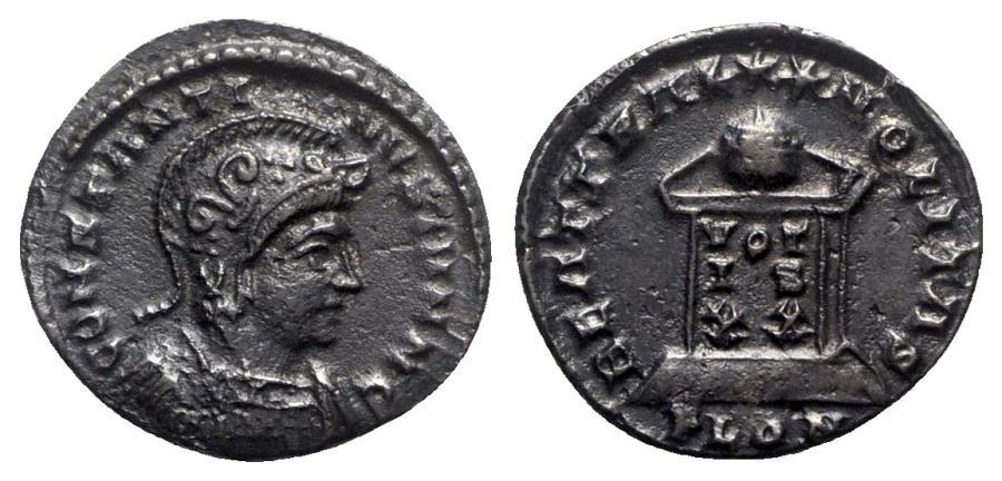 Ancient Coins - Constantine I (307/310-337). Æ Follis - Londinium - R/ Globe on altar