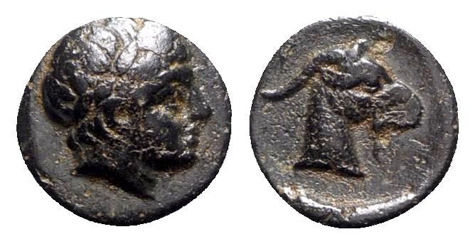 Ancient Coins - Aeolis, Aigai, 4th-3rd centuries BC. Æ - Apollo / Goat head