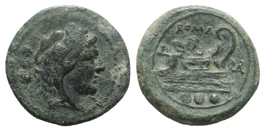 Ancient Coins - ROME REPUBLIC Roma monogram series, South East Italy, 211-210 BC. Æ Quadrans RARE