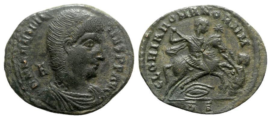 Ancient Coins - Magnentius (350-353). Æ Centenionalis - Rome - R/ Emperor on horseback