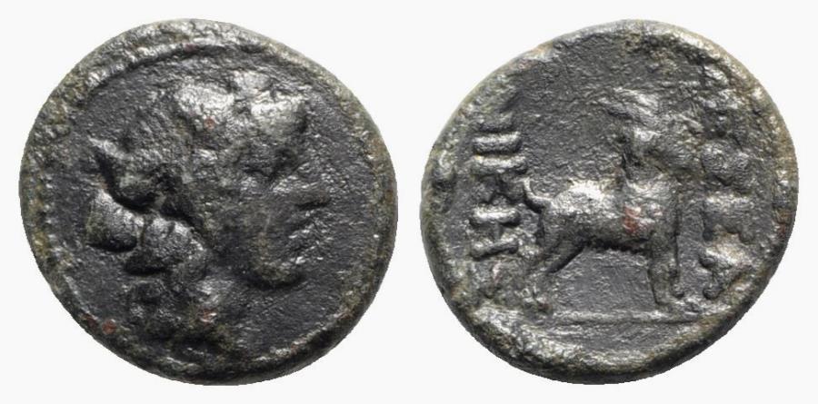 Ancient Coins - Macedon, Thessalonica, c. 187-31 BC. Æ - Dionysos / Goat