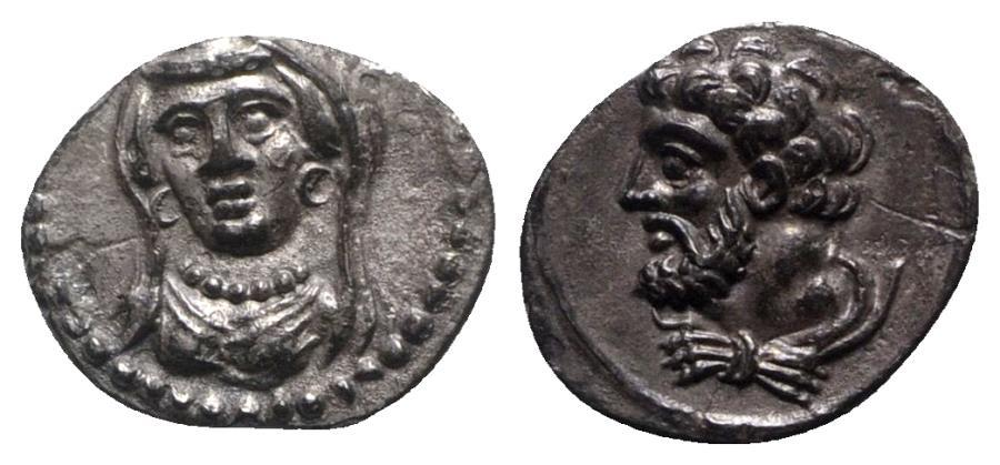 Ancient Coins - Cilicia, Uncertain, 4th century BC. AR Obol R/ Head of Herakles EXTREMELY FINE