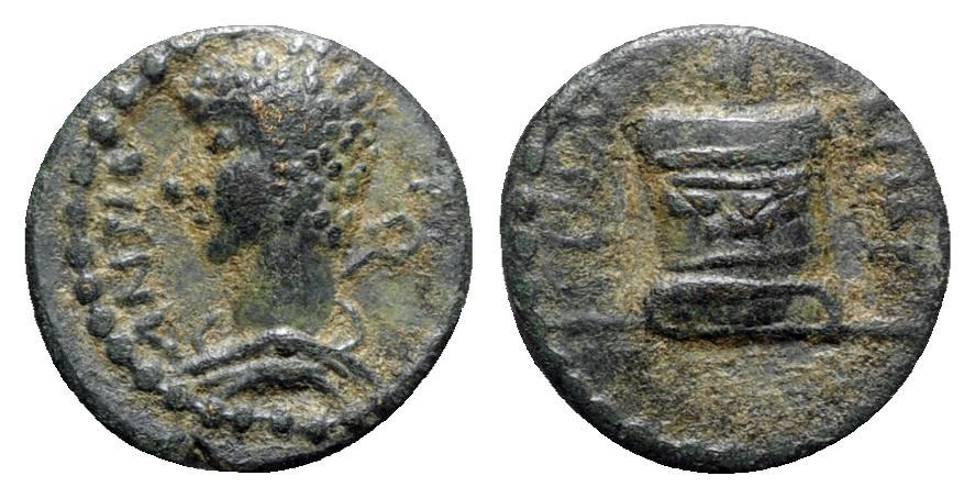 Ancient Coins - Pisidia, Antioch. Pseudo-autonomous. Time of Antoninus Pius (138-161). Æ - Hermes / Altar