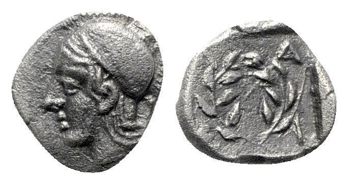 Ancient Coins - Aeolis, Elaia, c. 450-400 BC. AR Diobol