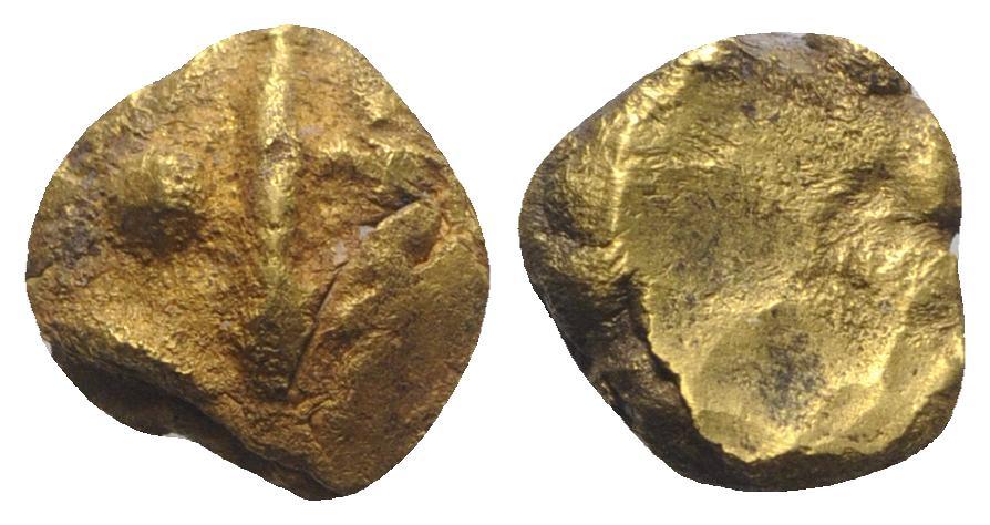 Ancient Coins - Celtic Gaul, II-I cent. BC AV 1/3 Stater. Spear between 2 dot UNPUBLISHED