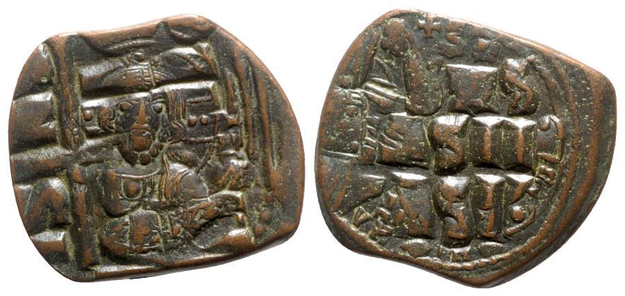Ancient Coins - Anonymous, time of Constantine IX (1042-1055). Æ 40 Nummi - CLass B