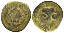 Augustus. 27 BC-AD 14. Æ Sestertius. Rome mint. T. Quinctius Crispinus Sulpicianus, moneyer. Struck 18 BC.