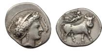 Ancient Coins - Italy. Central and Southern Campania, Neapolis. AR Didrachm, c. 320-300 BC.
