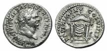Ancient Coins - Titus (79-81). AR Denarius. Rome, 79-80. R/ Throne NICE
